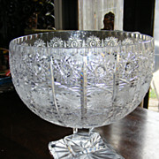 Large American Brilliant Period Cut Crystal Compote