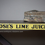 Vintage Rose�s Lime Juice Tin Advertising Shelf Strip