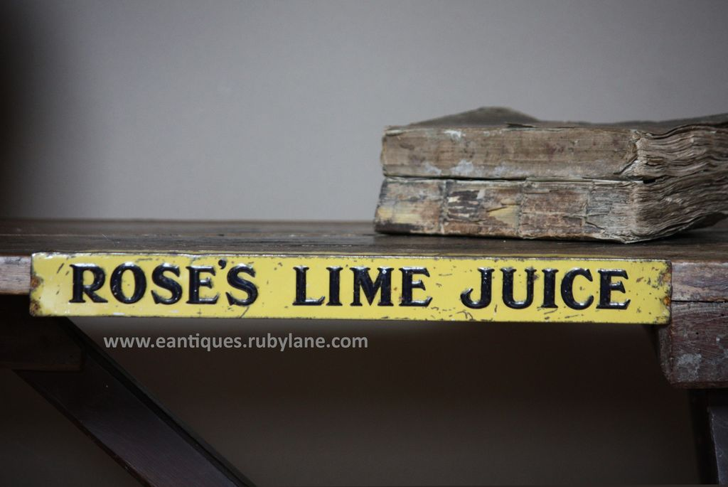 Vintage Rose's Lime Juice Tin Advertising Shelf Strip