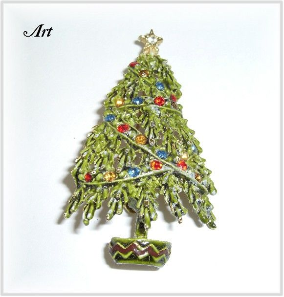 Vintage ART Rhinestone Christmas Tree Pin - Book Piece