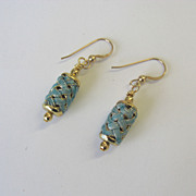 "Turquoise  ""Woven"" Enamel Dangle Earrings"