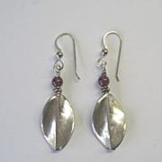 Hill Tribes Fine Silver w/Garnet Dangle Earrings