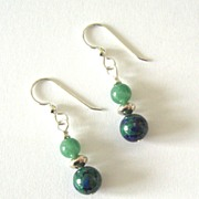 Beautiful Azure-Malachite Dangling Earrings