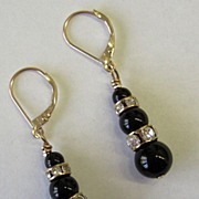 Black Onyx & Rhinestone Tiered Earrings