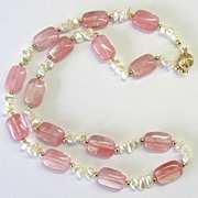 """Cherry Quartz"" and Mother of Pearl Necklace"