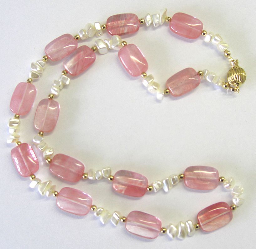 &quot;Cherry Quartz&quot; and Mother of Pearl Necklace