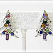 Sparkling Rhinestone Christmas Tree Earrings - Clip Backs