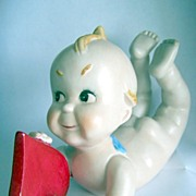 Large Japan Bisque Kewpie with Red Heart