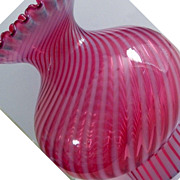 Vintage Fenton  Cranberry Opalescent Swirl Glass Lamp Globe / Shade