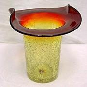 Excellent Amberina Crackle Glass Hat Vase