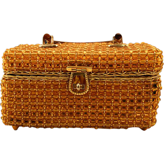Boxy Delill Handbag with Amber-Colored Beaded Embellishments