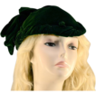 Elegant Juliette Style Lush Forest Green Velvet Hat