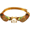 Extraordinary Swan Hinged Bracelet with Brilliant Enameling