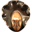 1943 ELZAC &quot;Bonnet Head&quot; Copper Glazed Ceramic Lucite Brooch Book Piece
