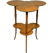 Vintage Double Clover Leaf Quarter Sawn Oak Occasional Table