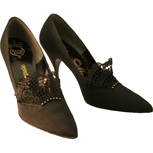 Cinderella Loves Black Vintage Designer Marquise Stiletto Shoes, With Original Box!