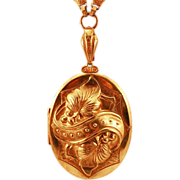 Superb ca 40's  Big Locket Pendant Intricate Gorgeous Chain Necklace