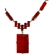 Luscious Red Very Vintage Czechoslovakian Glass Pendant Necklace