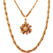 Beautiful Two-Strand Miriam Haskell Necklace with Rhinestone Pendant