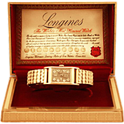 Collectible ca 1940'a 14K Solid Gold Case Longines 17 Diamond Face Wrist Watch