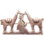 "Vintage Sterling Silver Peruvian ""Shepherd and Llamas"" Brooch"