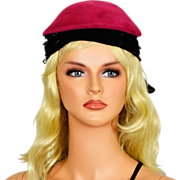 Sexy, Chic Vintage Hat in Black and Fuschia