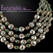 ca 1930's Magnificent Sea-Green Art Glass and Baroque Pearl Multi-Strand Necklace