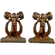 Antique Elegant Cast Iron Tragedy & Comedy Bookends