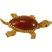 Adorable Hattie Carnegie Figural Sea Turtle Brooch with Orange Thermoplastic