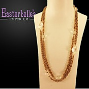 "Miriam Haskell Rhinestone 57"" Brass and Rhinestone Necklace - Timeless!"