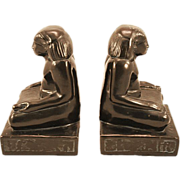 Vintage Bronze-Clad Bookends in the Shape of a Pharaoh