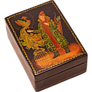Highly-Collectible Vintage Mstera Russian Lacquer Box With Fairy Tale Scene and Artist's Signa