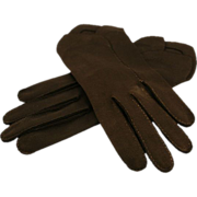 ca late 40's Crescendoe Black Cotton Gloves, Size 7