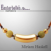 Elegant Miriam Haskell Necklace with Glass Faux Pearls and Green Art Glass
