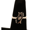 Classic Art Deco 10k Gold, Onyx and Diamond Ring, Size 5 