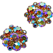 Super-Sparkly ca 1950's Weiss AB Rhinestone Earrings