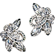 Glitter and Glamour ca 1950' Eisenberg Rhinestone Earrings