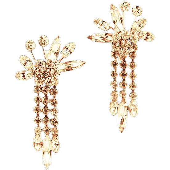 Vendome Dripping Rhinestone Earrings,  ca 1940's