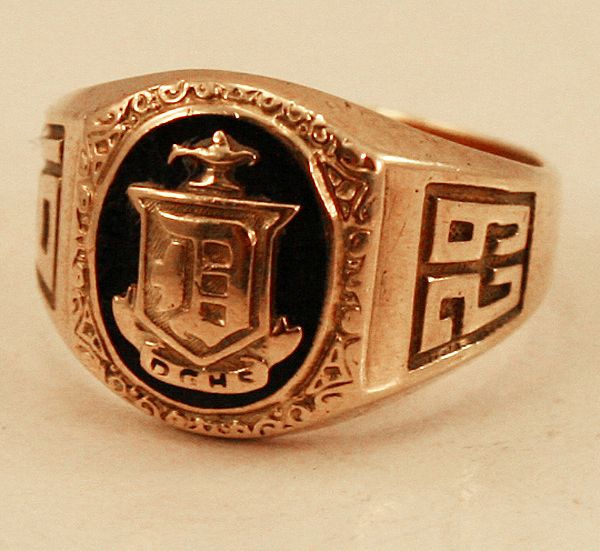 1929 deco 10k yellow gold class ring l and