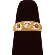 "Lovely Victorian 18k Gold ""Gypsy"" Ring with Diamond and Rubies"