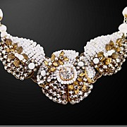 Dramatic Miriam Haskell Milk Glass Absolutely Correct Unsigned Necklace