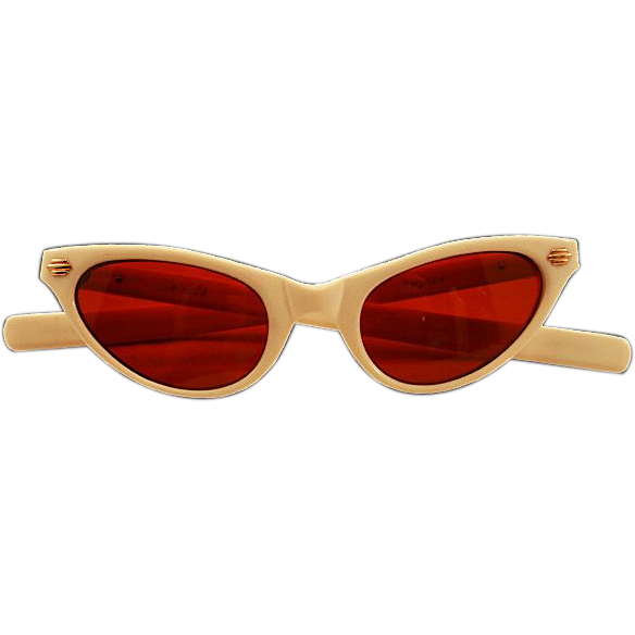 Fabulous Off-White Selecta France Cat-Eye Sunglasses with RED Lenses