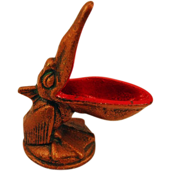"Quirky Vintage Cast Iron Figural ""Pelican"" Pipe Rest"