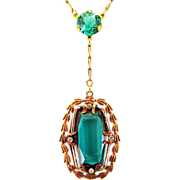 20's 30's Spectacular Czech Glass Green Pendant Necklace Beauty
