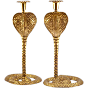 "Hollywood Regency Pair of Brass Cobra Candlesticks - 13+"" TALL"