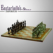 Vintage 60's Copper Chess Board with Lost Wax Bronze Player Pieces