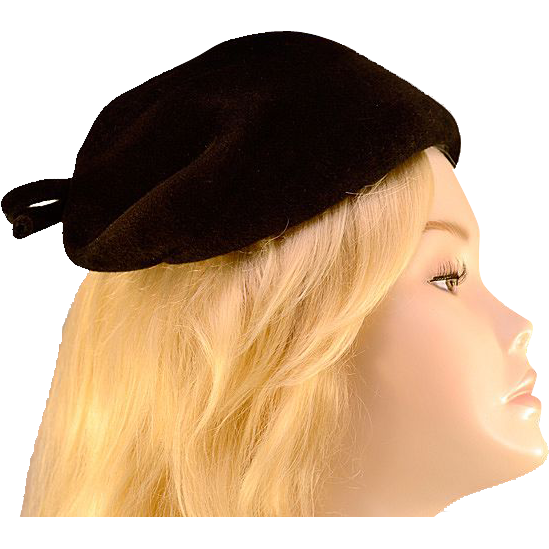 Vintage 40's Black Wool Bow Hat