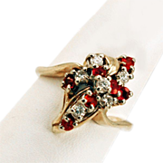 14K Gold Diamonds & Rubies Cluster RIng