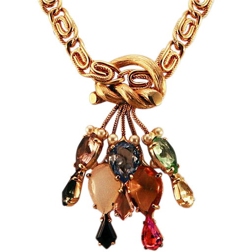 Iconic Amazing Schiaparelli Bold Necklace with Knot and Rhinestones