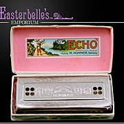 "Vintage Hohner ""The Echo"" Key of C Harmonica in Original Box - Very Clean"